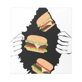 Großer geschmackvoller Burger und Hands3 Notizblock