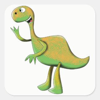 Großer grüner Dino Quadratischer Aufkleber