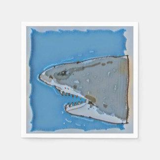 großer halber Körper-Cartoon des weißen Haifischs Papierserviette