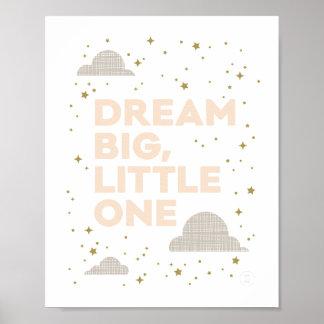 Großer, kleiner Kunst-Traumdruck im Pfirsich Poster