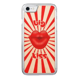 großer Kuss der breiten roten Lippensolarstrahlen Carved iPhone 8/7 Hülle