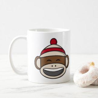 Großer Lächeln-Socken-Affe Emoji Kaffeetasse