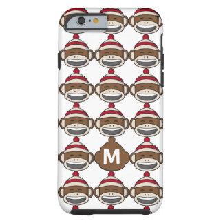 Großer Lächeln-Socken-Affe Emoji mit Monogramm Tough iPhone 6 Hülle