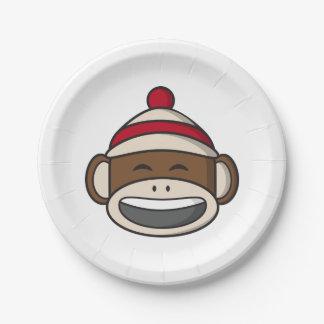 Großer Lächeln-Socken-Affe Emoji Pappteller