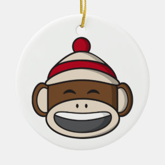 Großer Lächeln-Socken-Affe Emoji Rundes Keramik Ornament