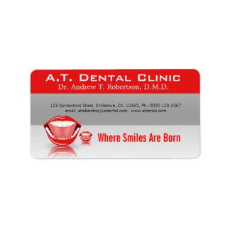 Großer Mund-berufliche zahnmedizinische Adressaufkleber