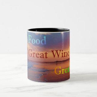 Großer Nahrungsmittelgroßer Wein-großes Leben Zweifarbige Tasse