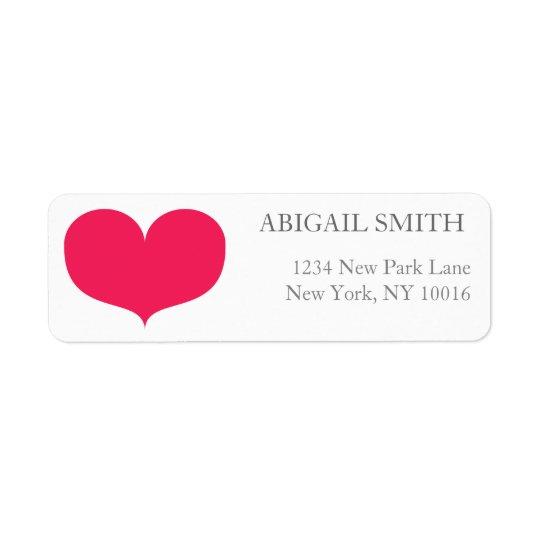 Großer rosa Herz-Rücksendeadressen-Aufkleber