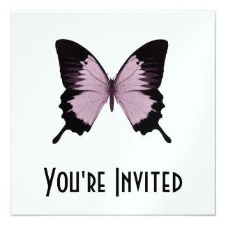 Großer rosa u. schwarzer Schmetterling - Quadratische 13,3 Cm Einladungskarte