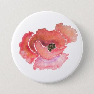Großer roter Mohnblumen-BlumeWatercolor Runder Button 7,6 Cm