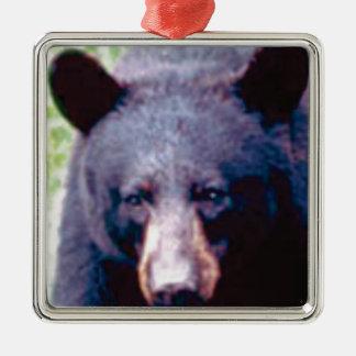 großer schwarzer Bär Silbernes Ornament