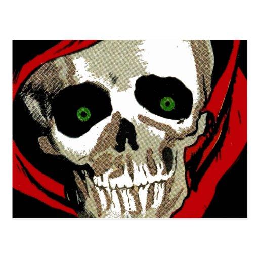 Großer unheimlicher Zombie mustert Schädel-Skelett Postkarten