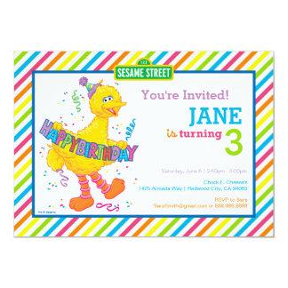 Großer Vogel-gestreifter Geburtstag 12,7 X 17,8 Cm Einladungskarte