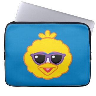 Großer Vogel-lächelndes Gesicht mit Sonnenbrille Laptop Sleeve