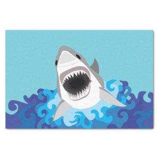 Großer weißer Haifisch-lustiger Cartoon Seidenpapier