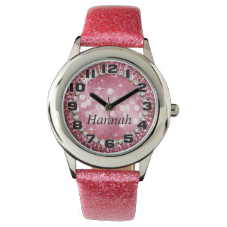 Großer ZahlenGlitz bezauberndes Bling Glitter-Rosa Armbanduhr