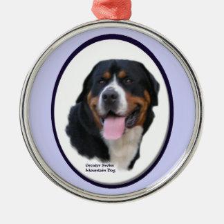 Größere Schweizer Gebirgshundekunst Rundes Silberfarbenes Ornament