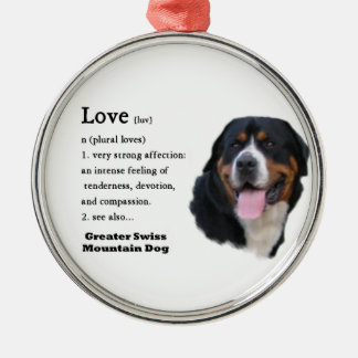 Größere Schweizer GebirgshundeLiebe ist-… Rundes Silberfarbenes Ornament