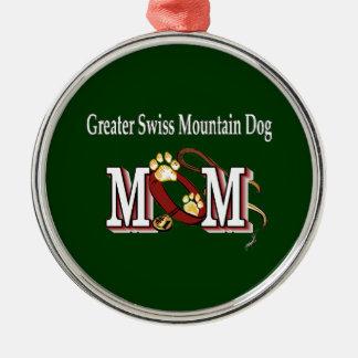 Größere Schweizer Gebirgshundemamma-Geschenke Rundes Silberfarbenes Ornament