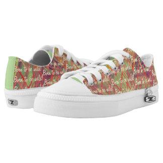Großes abstraktes Entwurfs-Rosa, lila, Minzen-Grün Niedrig-geschnittene Sneaker