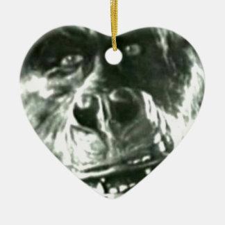 Großes Affe-Gesicht Keramik Herz-Ornament