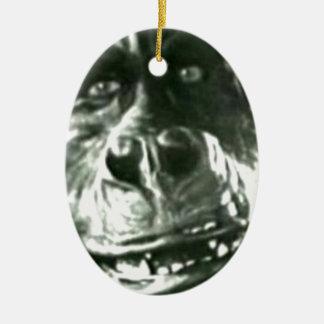 Großes Affe-Gesicht Ovales Keramik Ornament