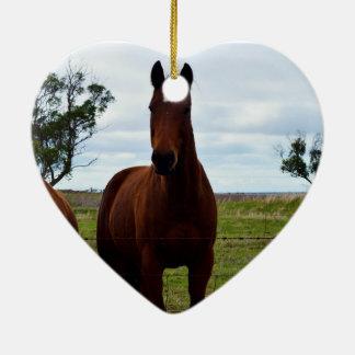 Großes ausgezeichnetes Pferd Browns, Keramik Ornament