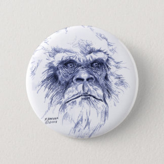 Großes blaues Sasquatch Runder Button 5,7 Cm