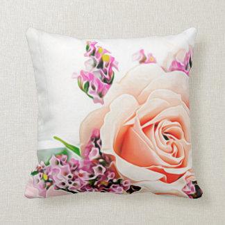 Großes Blumen-Blumenblumenblatt-lila weiße rosa Kissen