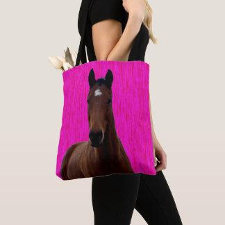 Großes Brown-Pferd auf Rosa, Tasche