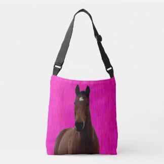 Großes Brown-Pferd auf Rosa, Tragetaschen Mit Langen Trägern