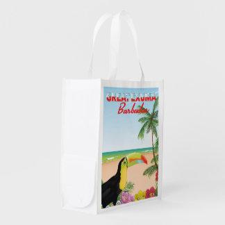 Großes Euxma Barbados Reiseplakat Wiederverwendbare Einkaufstasche