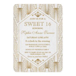 Großes Gatsby Kunst-Deko-Goldweißer Bonbon 16 11,4 X 15,9 Cm Einladungskarte