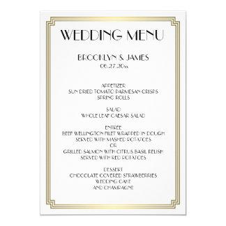 Großes Gatsby Kunst-Deko-weißes Goldhochzeits-Menü 12,7 X 17,8 Cm Einladungskarte