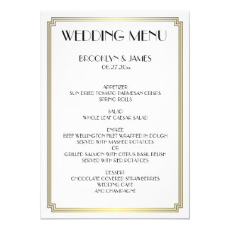 Großes Gatsby Kunst-Deko-weißes Goldhochzeits-Menü Karte