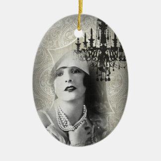 Großes gatsby Mädchen Vintagen Leuchters Keramik Ornament