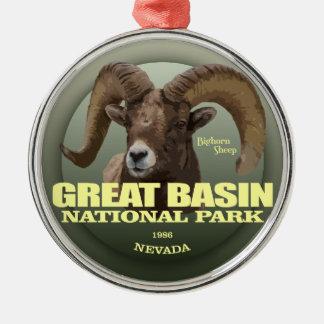 Großes GEWICHT Becken NP (Bighorn) Silbernes Ornament