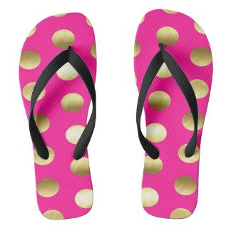 Großes Goldfolien-Tupfen-Pink Flip Flops