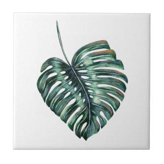 Großes grünes tropisches Blatt Kleine Quadratische Fliese