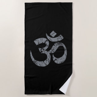 Großes Grunge OM-Symbol-Spiritualität-Yoga Strandtuch