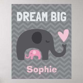 Großes kleines Traum - graue und rosa Elefanten Poster