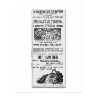 Großes London-Zirkus-Anzeige Postkarte