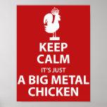 Großes Metallhuhnplakat