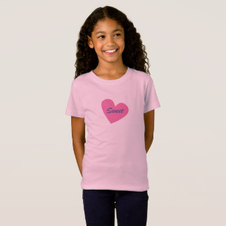 Großes rosa Herz rosa Mädchen T - Shirt