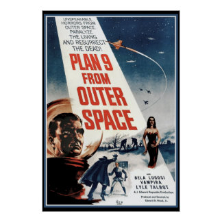 Großes Vintages Plakat - alter Weltraum-Film