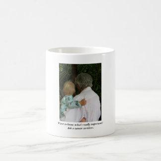 Großmutter und Baby, wollen, um zu wissen, was Kaffeetasse