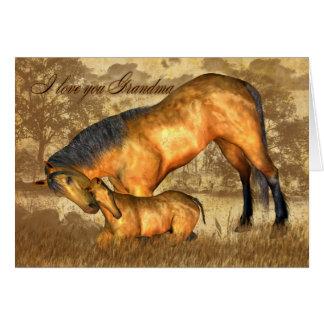 Großmutter-Valentinstag-Karte mit Pferd und Fohlen Karte