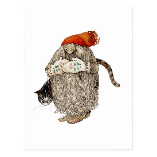Großmutter-Weihnachten Tomten mit grauer Katze Postkarte