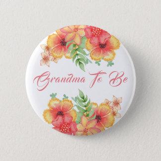 Großmutter, zum Pfirsich-orange und korallenrote Runder Button 5,7 Cm