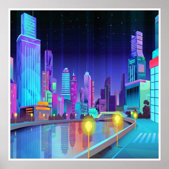 Großstadt-Nachtszenen-panoramisches Kunst-Plakat Poster